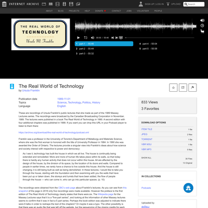 The Real World of Technology : Ursula Franklin : Free Download, Borrow, and Streaming : Internet Archive