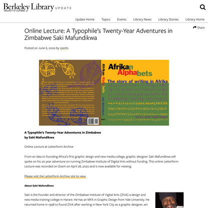 Online Lecture: A Typophile's Twenty-Year Adventures in Zimbabwe Saki Mafundikwa