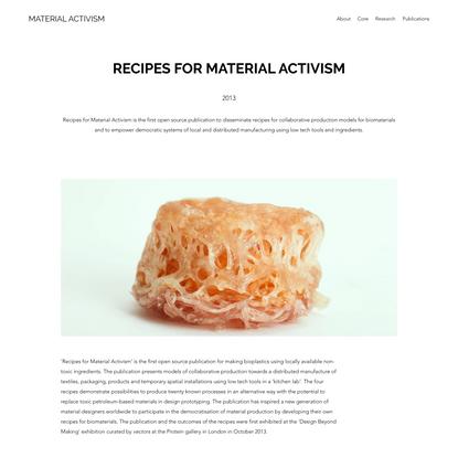 Recipes for Material Activism   Material Activism
