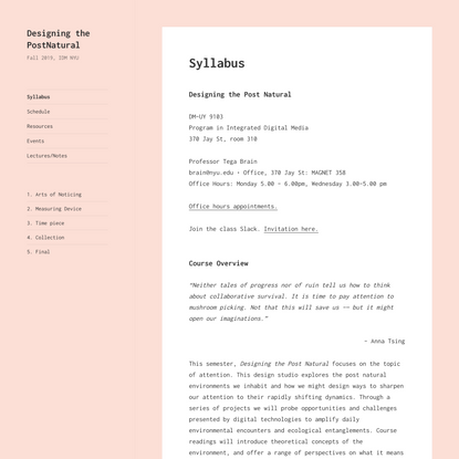 Designing the PostNatural – Fall 2019, IDM NYU