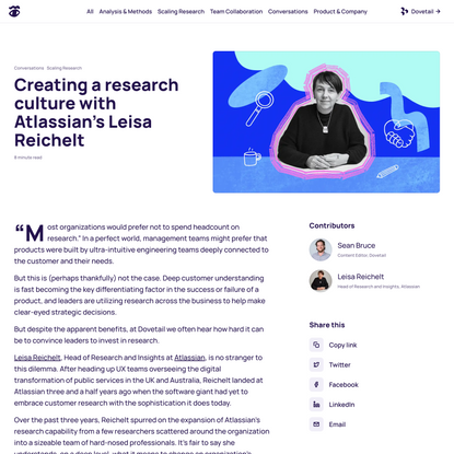 Creating a research culture with Atlassian's Leisa Reichelt – Method in Madness by Dovetail