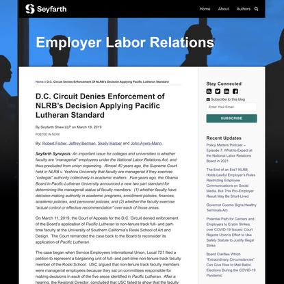 D.C. Circuit Denies Enforcement of NLRB's Decision Applying Pacific Lutheran Standard