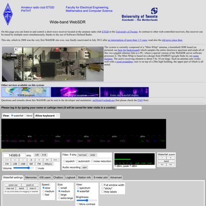 Wide-band WebSDR in Enschede, the Netherlands