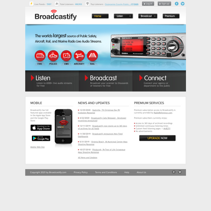 Broadcastify - Live Police, Fire, EMS, Aircraft, and Rail Audio Feeds