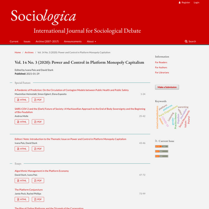 Vol. 14 No. 3 (2020): Power and Control in Platform Monopoly Capitalism | Sociologica