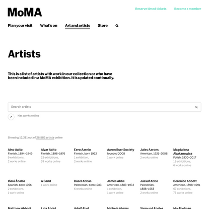 Artists | MoMA