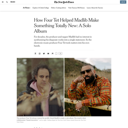 How Four Tet Helped Madlib Make Something Totally New: A Solo Album