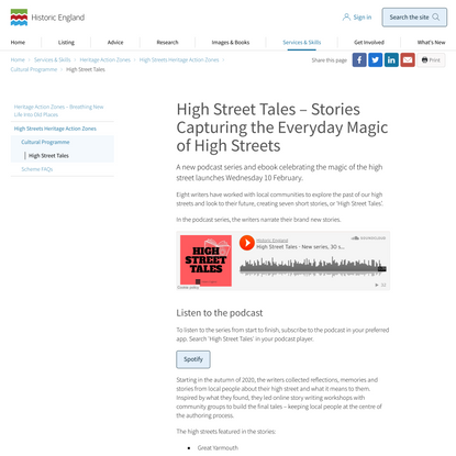 High Street Tales Podcast Series and E-book