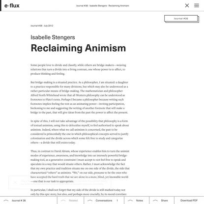 Reclaiming Animism