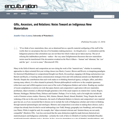 Gifts, Ancestors, and Relations: Notes Toward an Indigenous New Materialism | enculturation