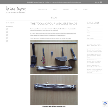 THE TOOLS OF OUR WEAVERS TRADE - Deirdre Dyson