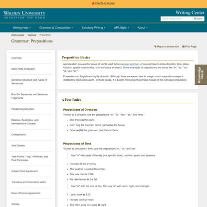 Academic Guides: Grammar: Prepositions