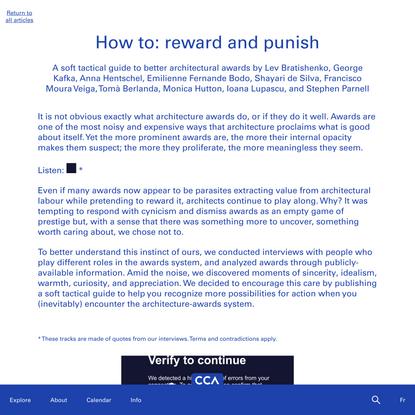 How to: reward and punish