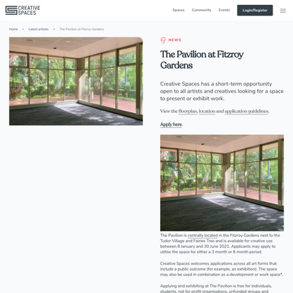 The Pavilion at Fitzroy Gardens | Creative Spaces