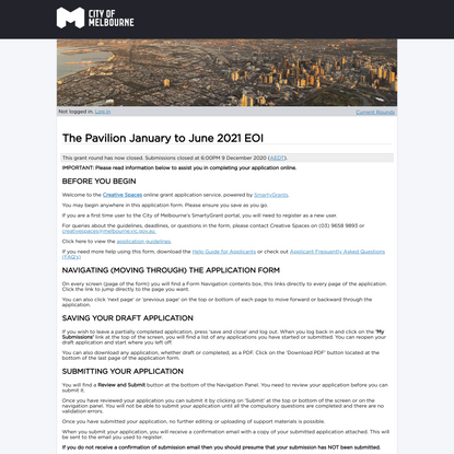 The Pavilion January to June 2021 EOI - City of Melbourne