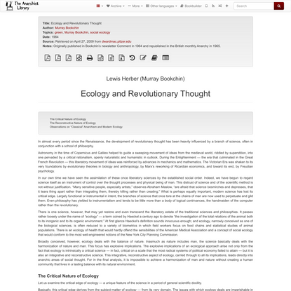 Ecology and Revolutionary Thought