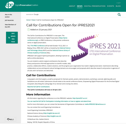 Call for Contributions Open for iPRES2021 - Digital Preservation Coalition