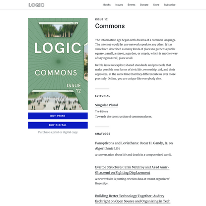 Commons: Issue 12 | Logic Magazine