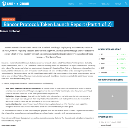 Bancor Protocol: Token Launch Report (Part 1 of 2) - Smith + Crown