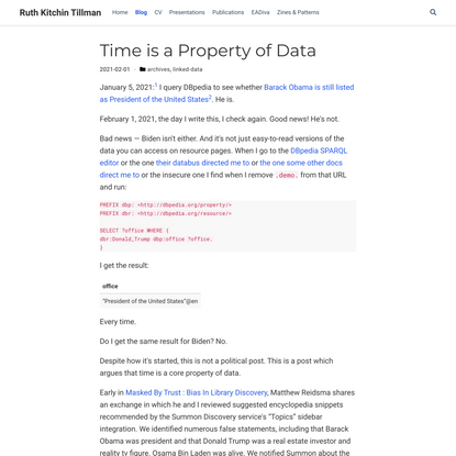 Time is a Property of Data   Ruth Kitchin Tillman