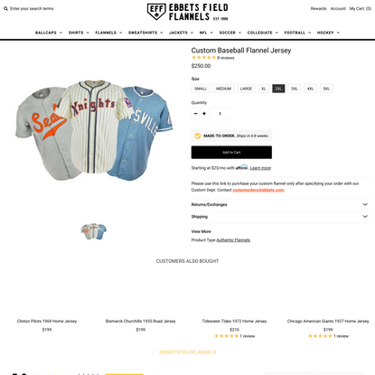 Custom Baseball Flannel Jersey