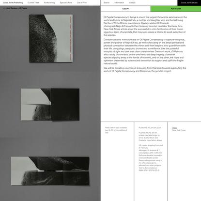 Jack Davison – Ol Pejeta – Loose Joints Publishing