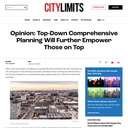 Opinion: Top-Down Comprehensive Planning Will Further Empower Those on Top