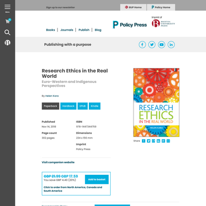 Policy Press   Research Ethics in the Real World - Euro-Western and Indigenous Perspectives, By Helen Kara