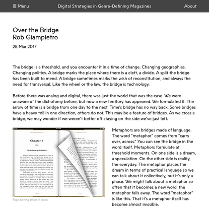 Digital Strategies in Genre Defining-Magazines   Over the Bridge