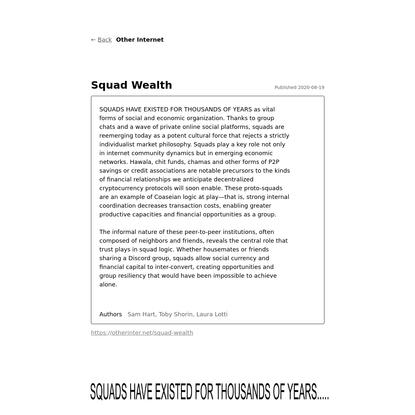 Squad Wealth