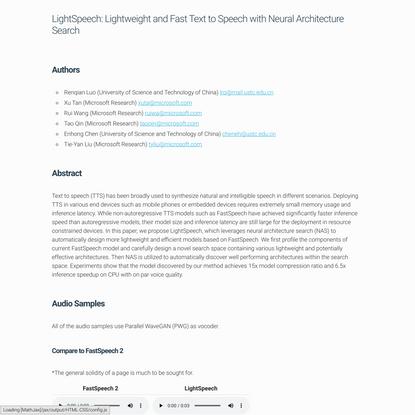 LightSpeech: Lightweight and Fast Text to Speech with Neural Architecture Search - SpeechResearch