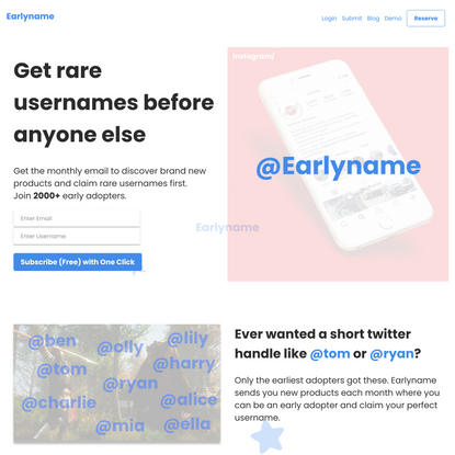 Earlyname | Get Your Username Before Anyone Else