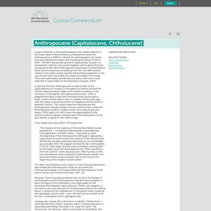 Anthropocene (Capitalocene, Chthulucene) | MANE Compendium