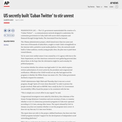 US secretly built 'Cuban Twitter' to stir unrest