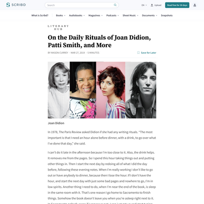 Read On the Daily Rituals of Joan Didion, Patti Smith, and More Online