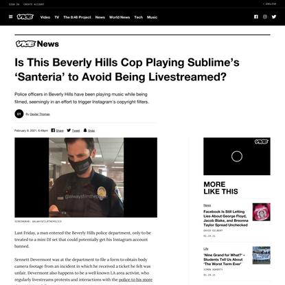 Is This Beverly Hills Cop Playing Sublime's 'Santeria' to Avoid Being Livestreamed?