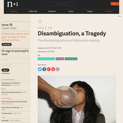 Disambiguation, a Tragedy   Issue 38   n+1