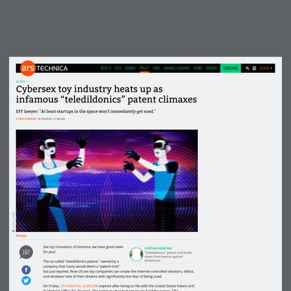 "Cybersex toy industry heats up as infamous ""teledildonics"" patent climaxes"