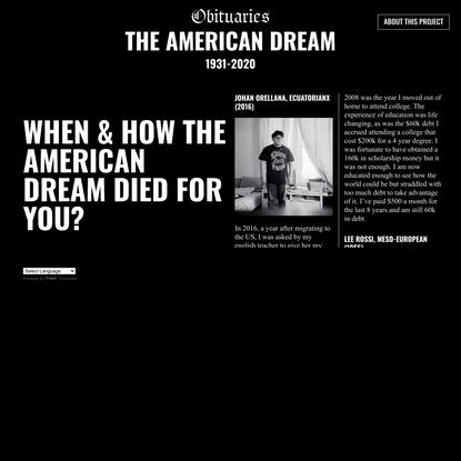 Obituaries of the American Dream