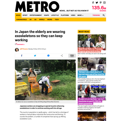 In Japan the elderly are wearing exoskeletons so they can keep working