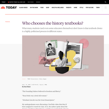 Who chooses the history textbooks?