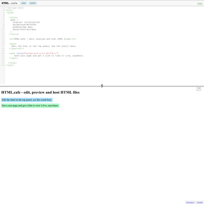 HTML.cafe - realtime HTML editor and host