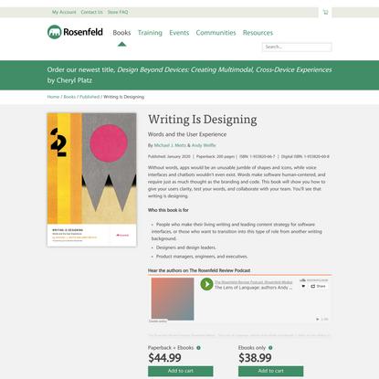 Writing Is Designing - Rosenfeld Media