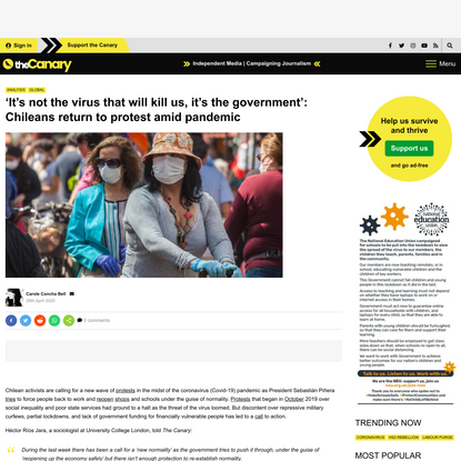 'It's not the virus that will kill us, it's the government': Chileans return to protest amid pandemic | The Canary