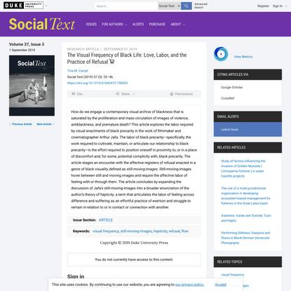 The Visual Frequency of Black Life | Social Text | Duke University Press