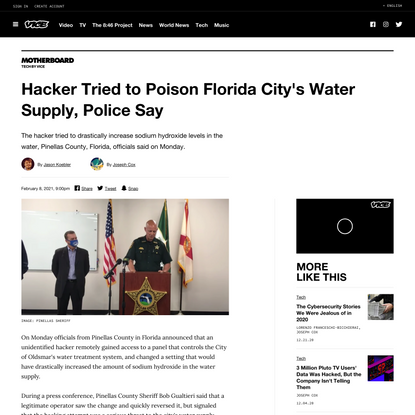 Hacker Tried to Poison Florida City's Water Supply, Police Say