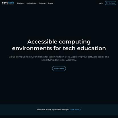 Next Tech: Accessible computing environments for tech education