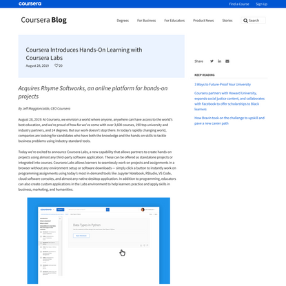 Coursera Introduces Hands-On Learning with Coursera Labs | Coursera Blog