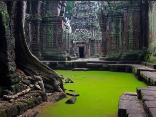 flooded ruins at angkor