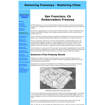 Removing Freeways - Restoring Cities